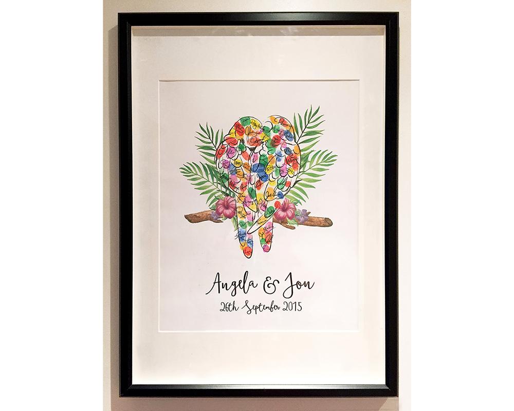 Lovebird Finger Print Framed