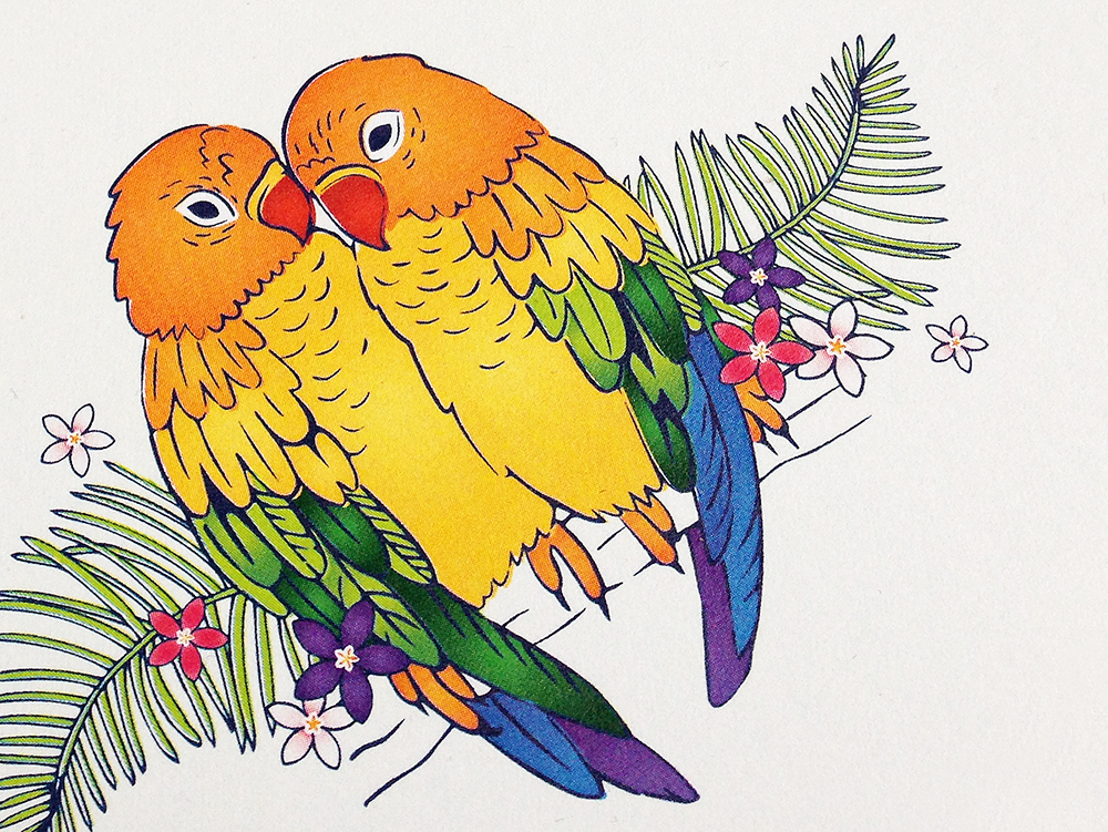Hand-drawn Tropical Love Birds Illustration