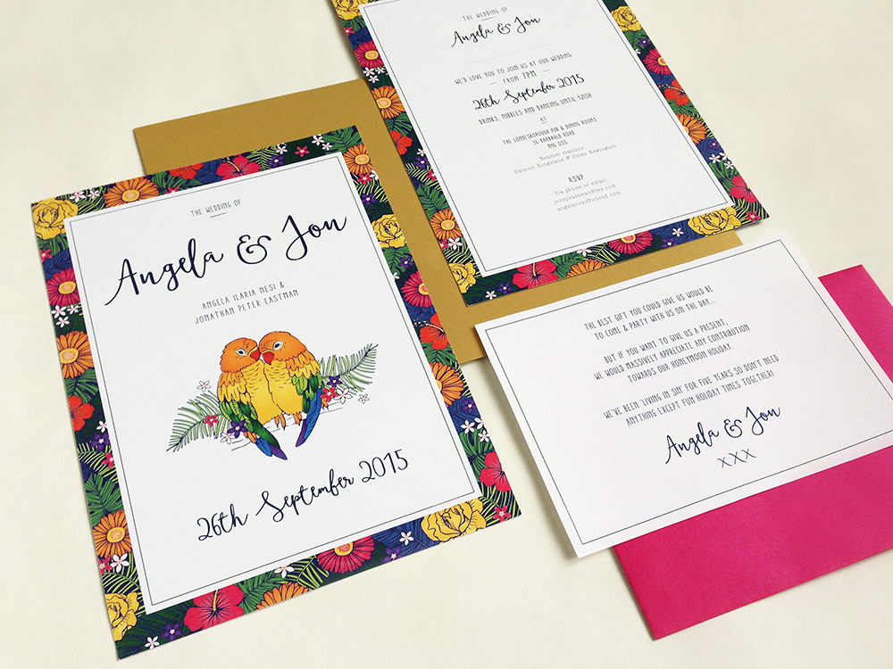Tropical Love Birds Wedding Invitation