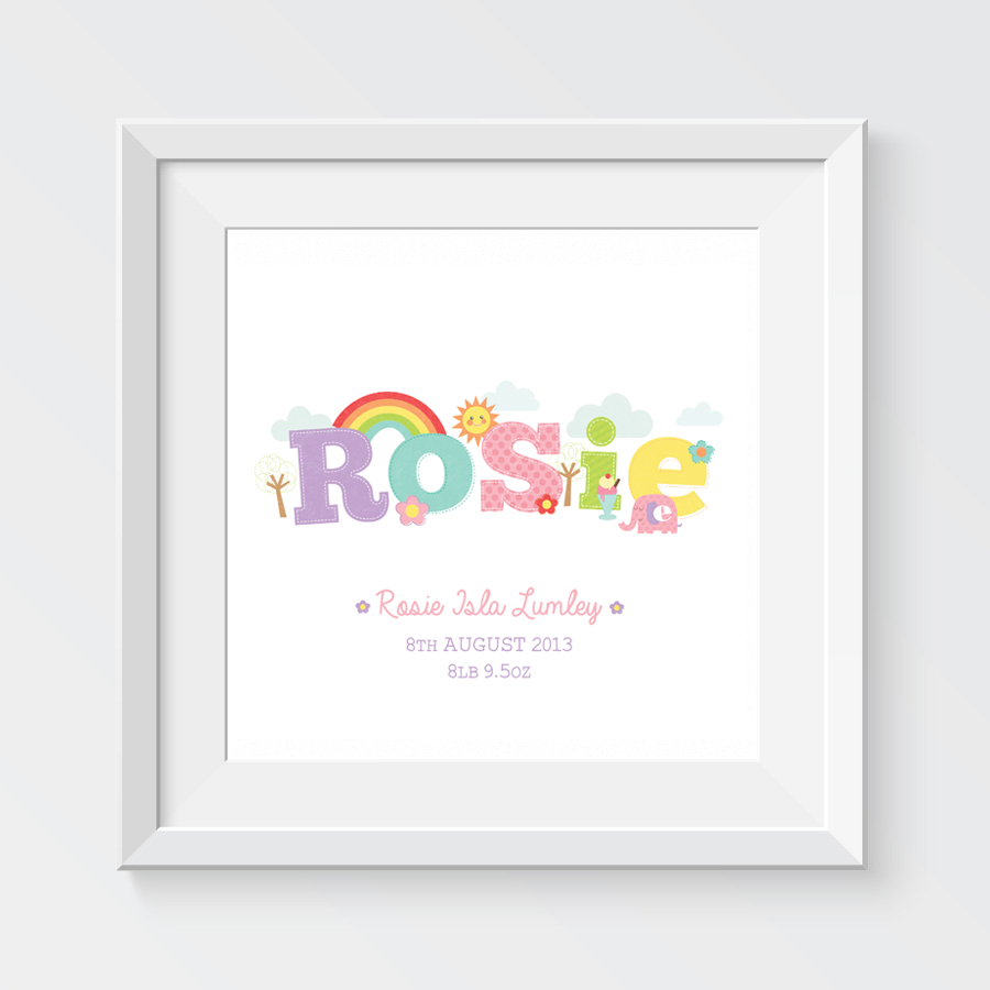 Gifts charm tree rosie baby name illustration zoomdetails negle Gallery