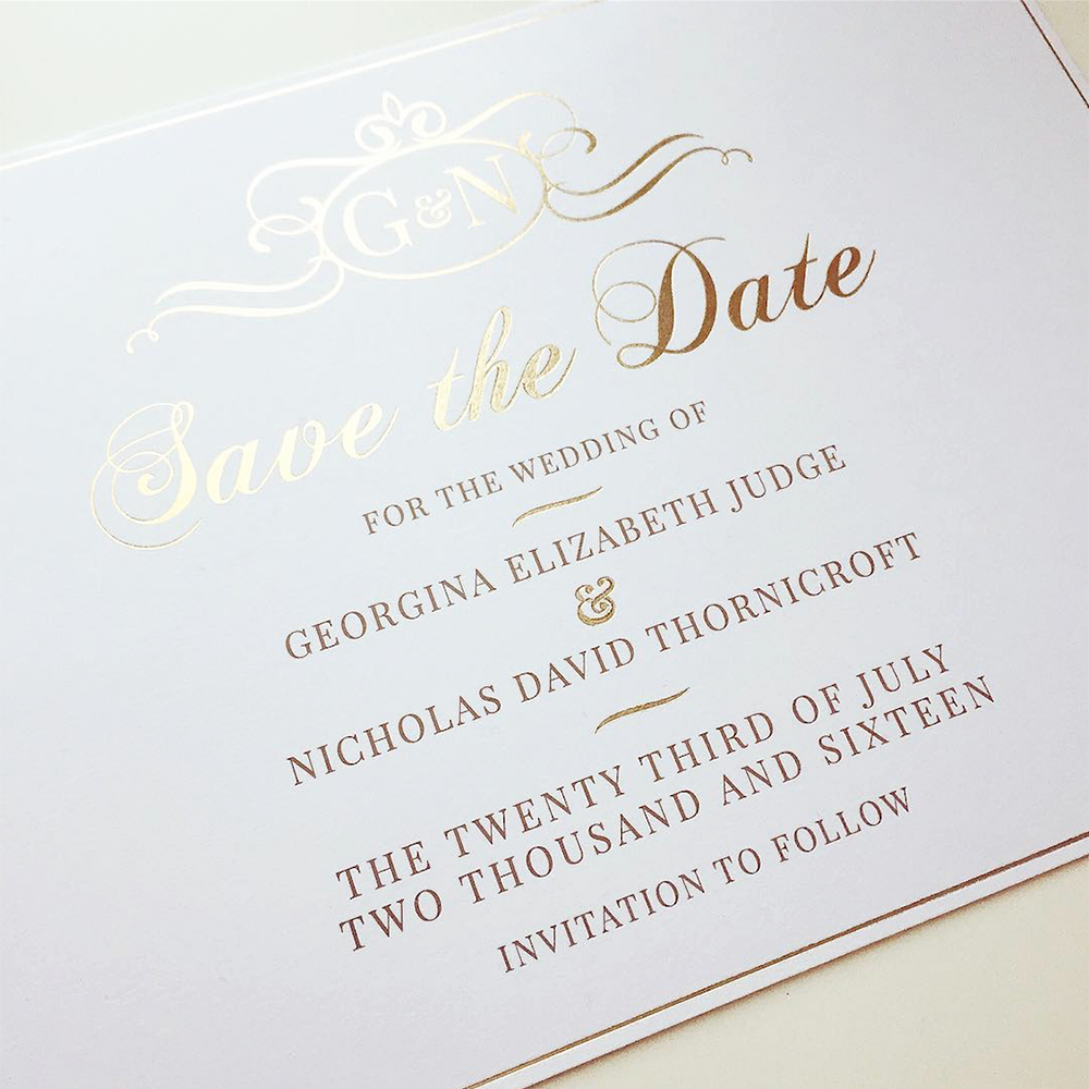 Gold Foil Classic Save the Date Wedding Invitation - Charm Tree