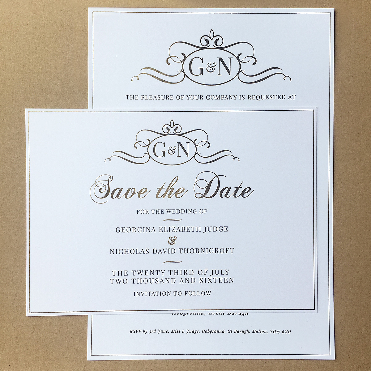 gold foil classic save the date wedding invitation charm tree