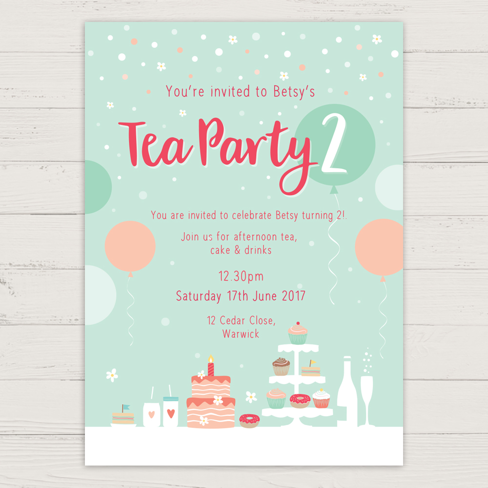 Tea Party Invitation - Charm Tree