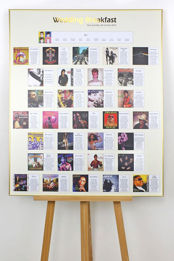 Album Cover table Plan