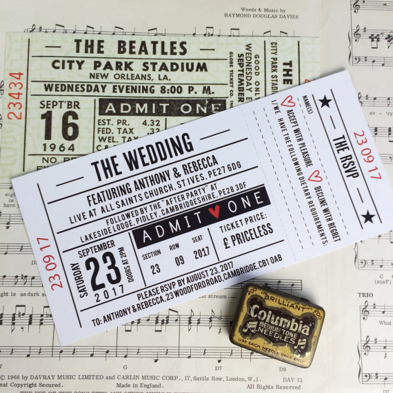 Concert Ticket Style Invitations