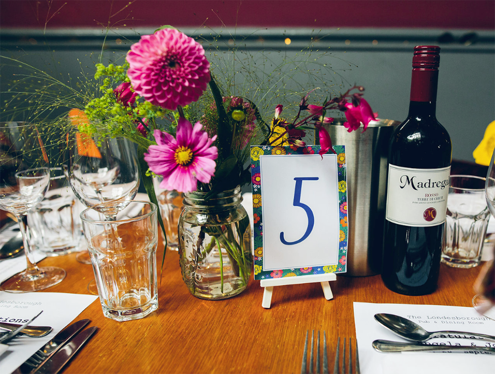 Table Numbers with Tropical Flowers
